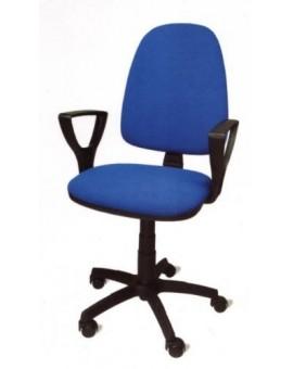 Poltroncina girevole per ufficio seduta interna in faggio imbottita tessuto blu