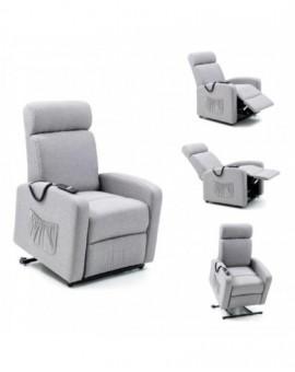 Poltrona relax recliner in tessuto grigio con motore elettrico casa arredo salot