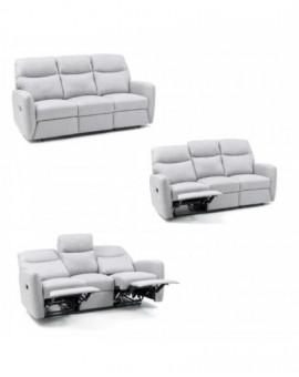 Divano 3 posti relaxrecliner in tessutocolore grigio salone salotto casa