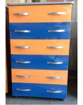 Settimino mobile cassettone in melaminico montato arancio eblu cm 75 grigio