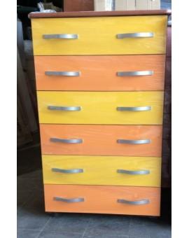 Settimino mobile cassettone in melaminico montato arancio egiallo cm 75 ciliegi