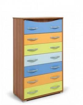 Settimino maxy da camera legno multicolor a 7 cassetti per camerette moderne