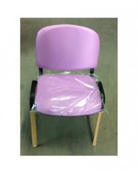 Sedia fissa da ufficio in finta pelle rosa