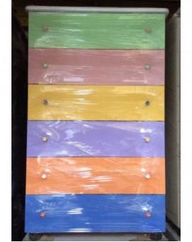 Settimino mobile arredo cassetti melaminico montato multicolor cm 75