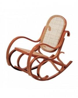 Sedia Vintage dondolo per bimbi in legnodi faggio di col.miele seduta paglia