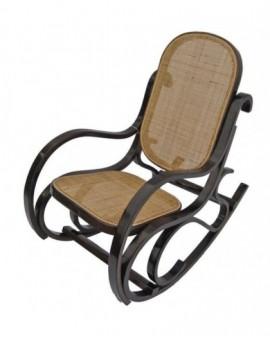 Sedia Vintage dondolo per bimbi in legnodi faggio di col.noce seduta paglia