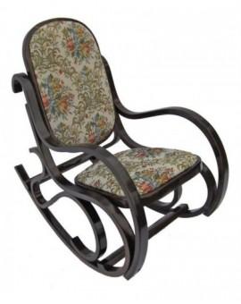 Sedia Vintage dondolo per bimbi in legnodi faggio di col.noce seduta imbottita