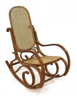Sedia Vintage dondolo in legno naturaleper arredo casa lusso seduta paglia