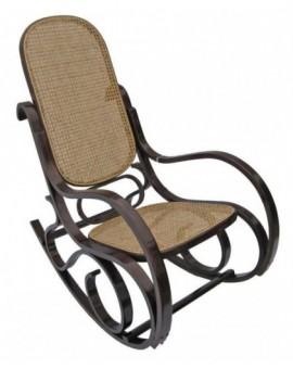 Sedia Vintage dondolo in legno naturaleper arredo casa design lusso paglia