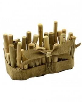 Porta candele addobbo natale in legno naturale arredo casa natalizio CM22,5X12,5